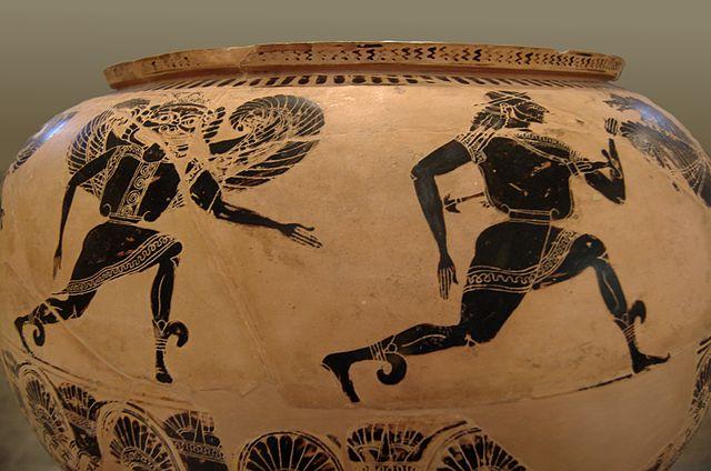 Perseus fleeing the gorgons