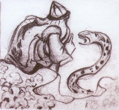Nicholas Roerich - Snakes facing (Whisperer a serpent)
