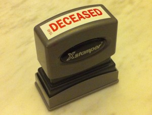 Xstamper deceased stamp